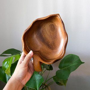 Tropical Leaf Wooden Bowl Catch All Tray
